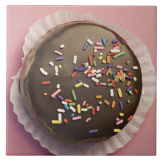 Homemade chocolate dessert with sprinkles large square tile