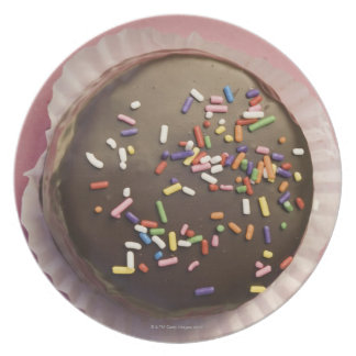 Homemade chocolate dessert with sprinkles party plate