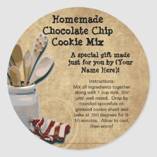 Homemade Cookie Mix Gift Jar Labels, Personalized Classic Round Sticker