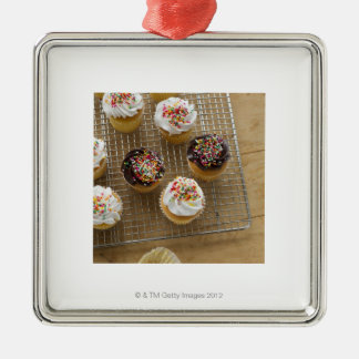 Homemade cupcakes Silver-Colored square decoration
