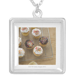 Homemade cupcakes silver plated necklace