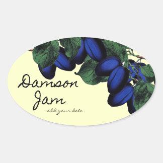 Homemade Damson Jam label Oval Sticker