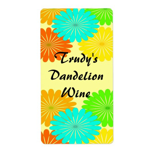Homemade Dandelion Picking Flowers Wine Labels