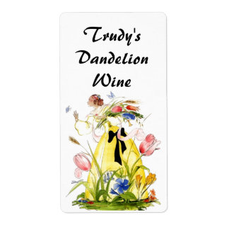 Homemade Dandelion Picking Wildflower Wine Labels