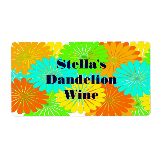 Homemade Dandelion Wine Custom Festive Gift Labels