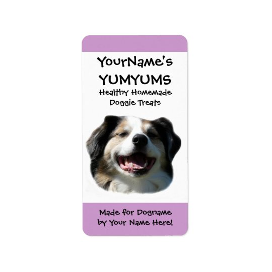 Homemade Dog Treats custom Aussie Dog  Label Address Label