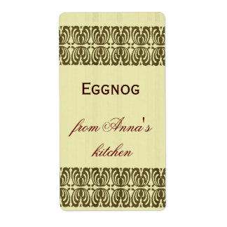 Homemade eggnog personalized border shipping label
