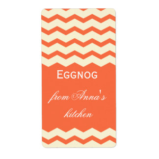 Homemade eggnog personalized chevron shipping label