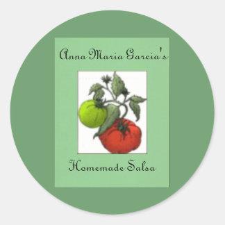 Homemade Green or Red Tomato Salsa Label Round Sticker