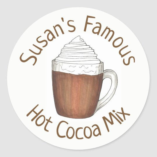 Homemade Hot Chocolate Cocoa Mix Personalised Classic Round