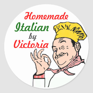 Homemade Italian Chef-Personalize It! Round Sticker
