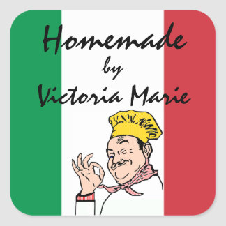 Homemade Italian Food Personalized Square Sticker
