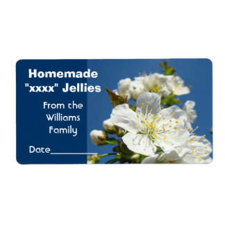 Homemade Jams Jellies Jar Labels Floral Blossoms