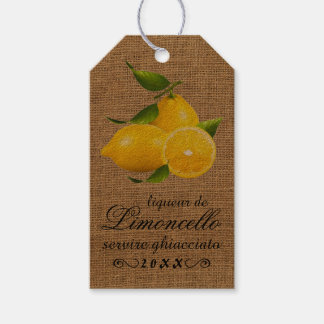 Homemade Limoncello Burlap Look Bottle Hang Tag |