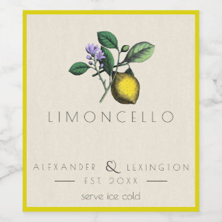 Homemade Limoncello Vintage Bottle Label |
