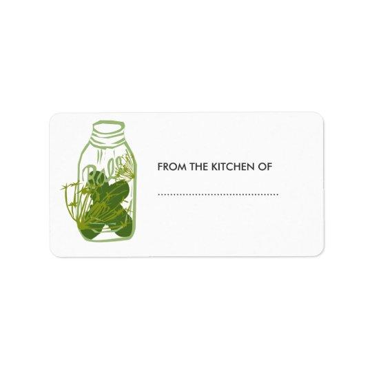 Homemade Pickles Glass Jar Food  Preserves Label
