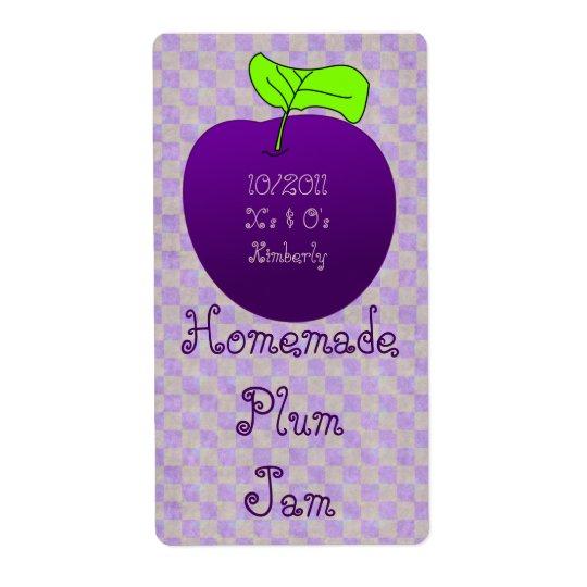 Homemade Plum Jam Jar Label (Customise) Shipping Label