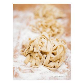 Homemade ribbon pasta, close up postcard
