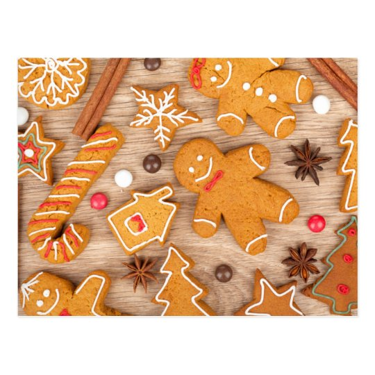 Homemade Various Christmas Gingerbread Cookies Postcard