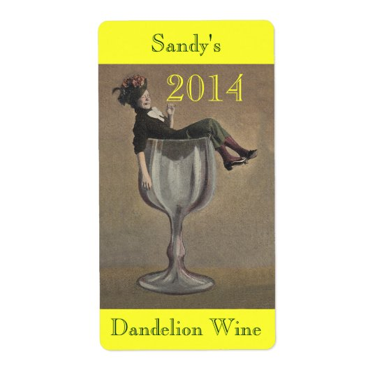Homemade Wine Antique Fun Lady Labels Personalise