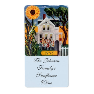 Homemade Wine Sunflower Porch Labeling Labels