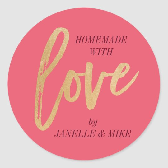 Homemade with Love sticker, faux gold foil label