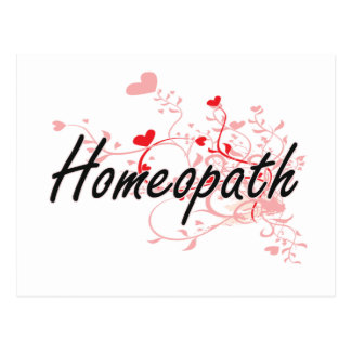 Homeopath Artistic Job Design with Hearts Postcard