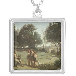 Homer and the Shepherds in a Landscape, 1845 Silver Plated Necklace