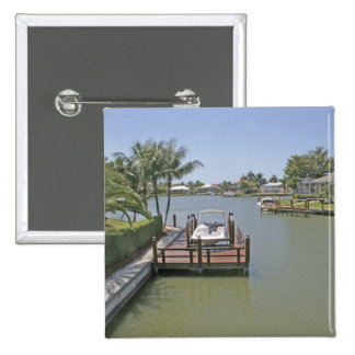 Homes and docks on canal Marco Island Florida 15 Cm Square Badge