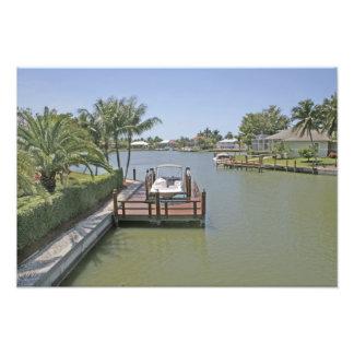 Homes and docks on canal Marco Island Florida Photo Print