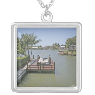 Homes and docks on canal Marco Island Florida Silver Plated Necklace