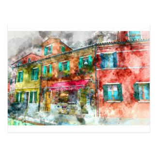 Homes in Burano Italy near Venice Postcard