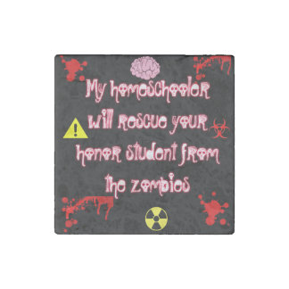 Homeschool Zombie Marble Stone Magnet, Individual Stone Magnet