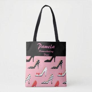 Homeschooling Diva Pink and black Tote Bag