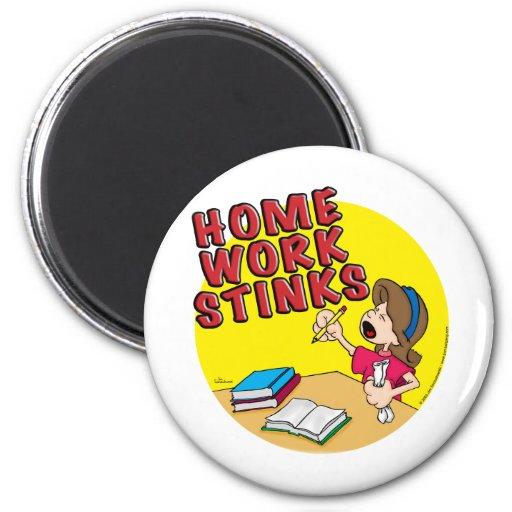 Homework Stinks (girl) Fridge Magnets