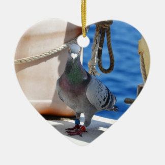 Homing Pigeon Ceramic Heart Decoration