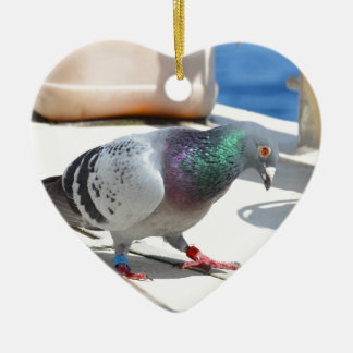 Homing Pigeon On A Yacht Ceramic Heart Decoration