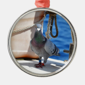 Homing Pigeon Silver-Colored Round Decoration