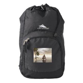 Homo erectus thinking alone - 3D render Backpack