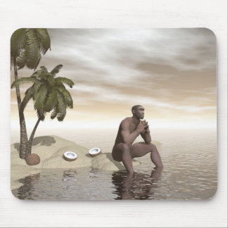 Homo erectus thinking alone - 3D render Mouse Mat