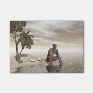 Homo erectus thinking alone - 3D render Post-it Notes
