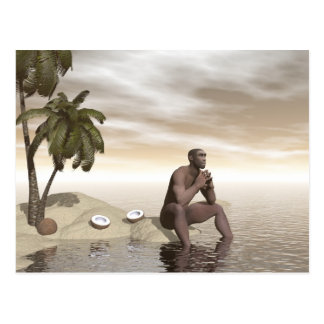 Homo erectus thinking alone - 3D render Postcard