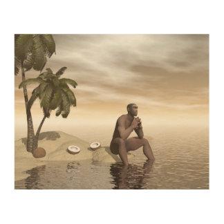 Homo erectus thinking alone - 3D render Wood Prints