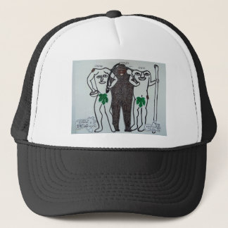 homo erectus with two legends of them. trucker hat
