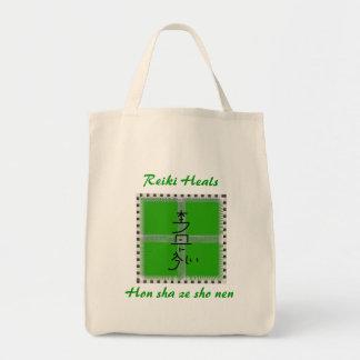 Hon sha ze sho nen green mandala grocery tote bag