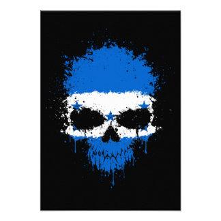 Honduras Dripping Splatter Skull Invitation