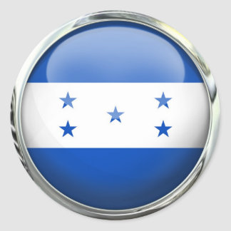 Honduras Flag Glass Ball Classic Round Sticker