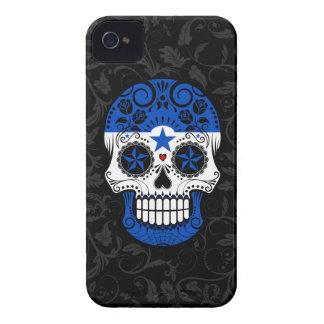 Honduras Flag Sugar Skull with Roses iPhone 4 Case