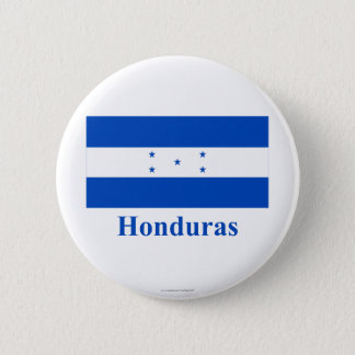 Honduras Flag with Name 6 Cm Round Badge