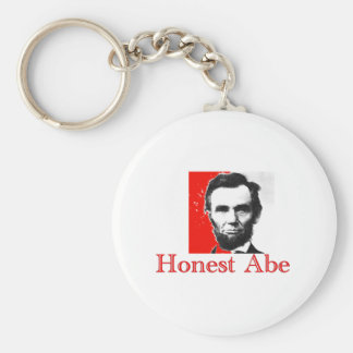"""Honest Abe"" Abe Lincoln Art T-Shirt & Gifts Basic Round Button Key Ring"